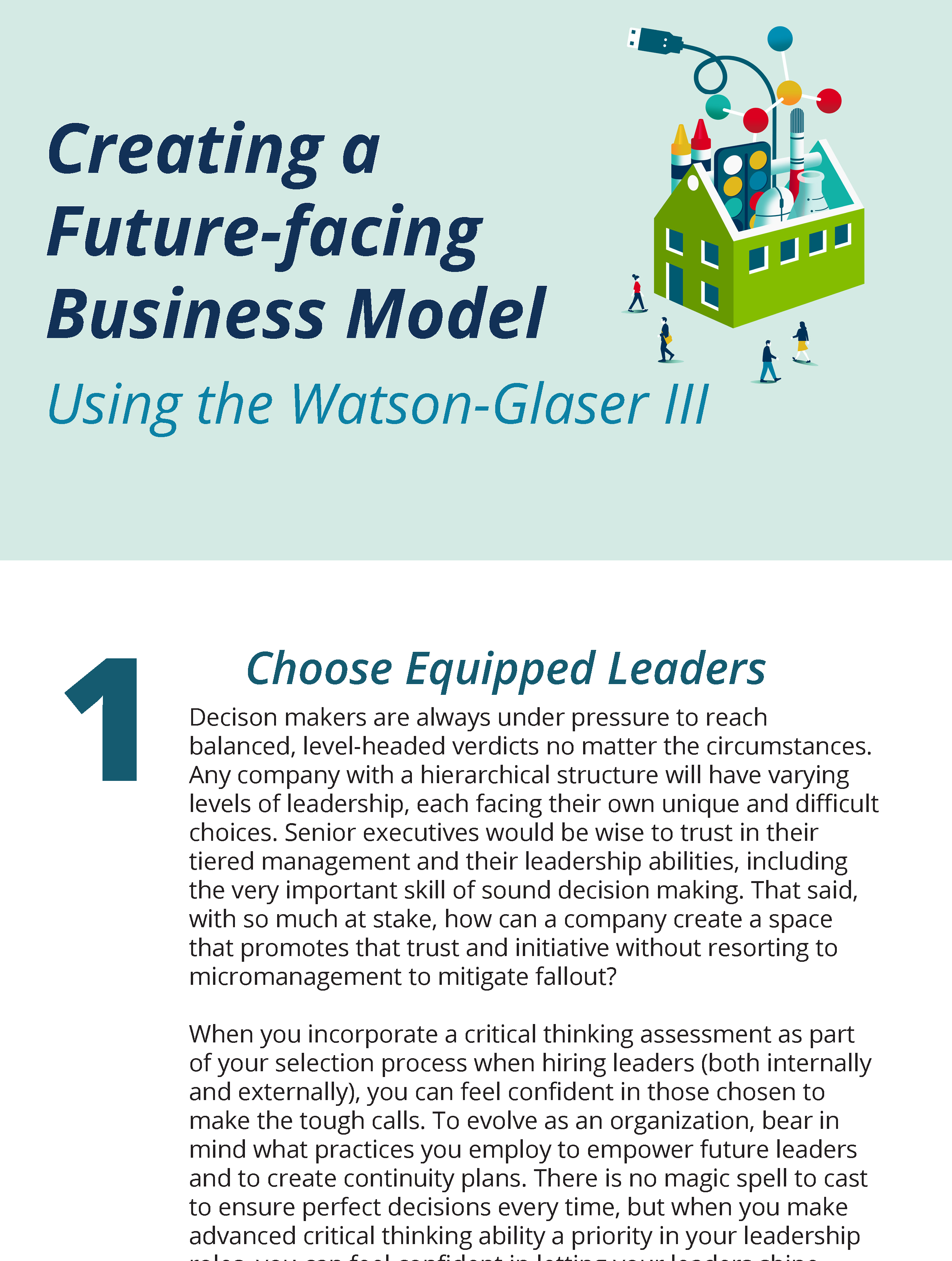 Creating a Future-facing Business Model using the Watson-Glaser III